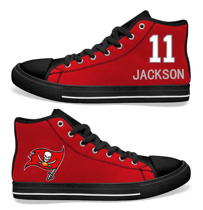 NFL Tampa Bay Buccaneers 11# DeSean Jackson Red  Hand Painted Unisex Custom Centre-TOP Canvas Shoes