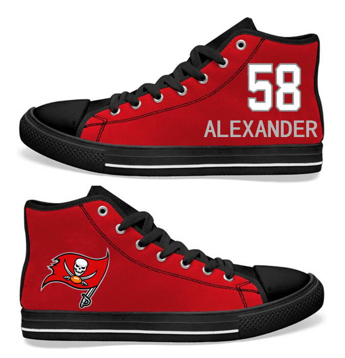 NFL Tampa Bay Buccaneers 58# Kwon Alexander Red  Hand Painted Unisex Custom Centre-TOP Canvas Shoes