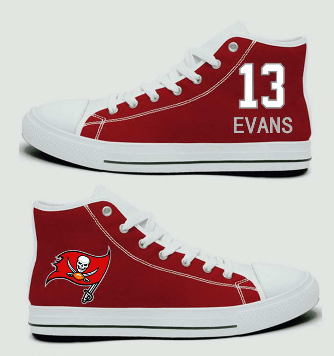 NFL Tampa Bay Buccaneers 13# Mike Evans  Red white Hand Painted Unisex Custom Centre-TOP Canvas Shoes