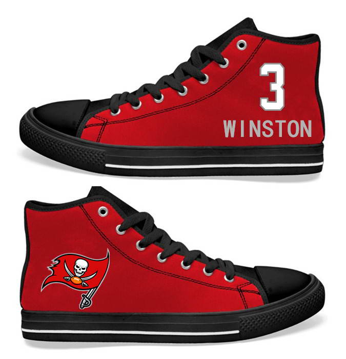 NFL Tampa Bay Buccaneers 3# Jameis Winston Red  Hand Painted Unisex Custom Centre-TOP Canvas Shoes