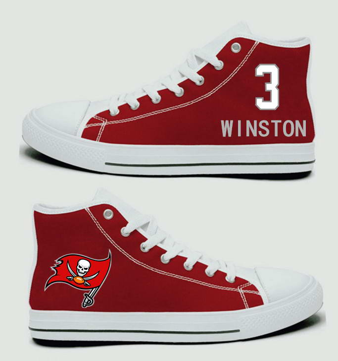 NFL Tampa Bay Buccaneers 3# Jameis Winston Red white Hand Painted Unisex Custom Centre-TOP Canvas Shoes