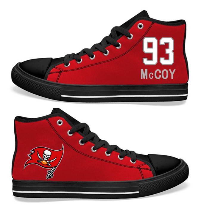 NFL Tampa Bay Buccaneers 93# Gerald McCoy Red  Hand Painted Unisex Custom Centre-TOP Canvas Shoes