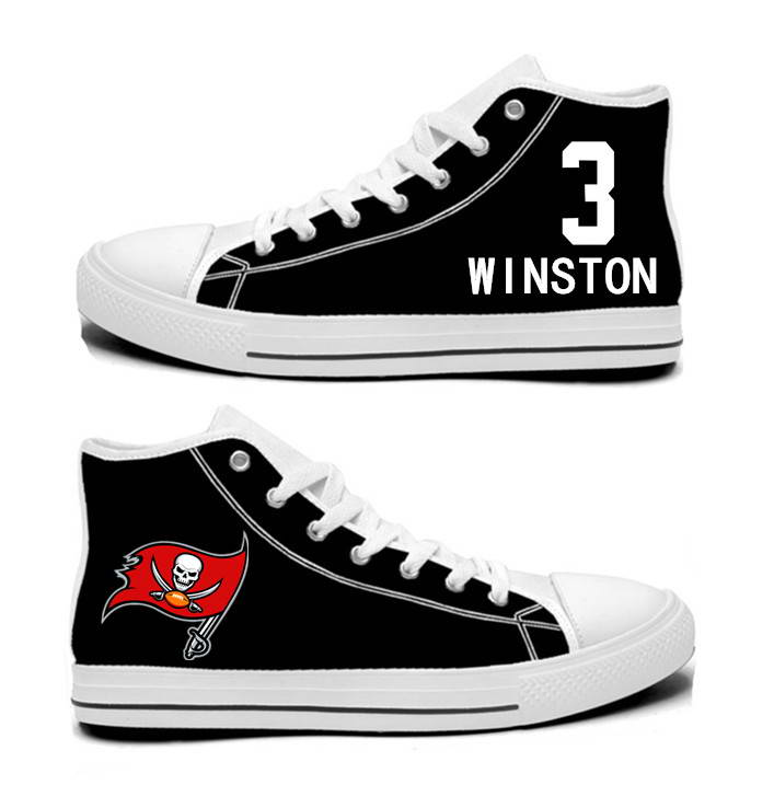 NFL Tampa Bay Buccaneers 3# Jameis Winston black  Hand Painted Unisex Custom Centre-TOP Canvas Shoes