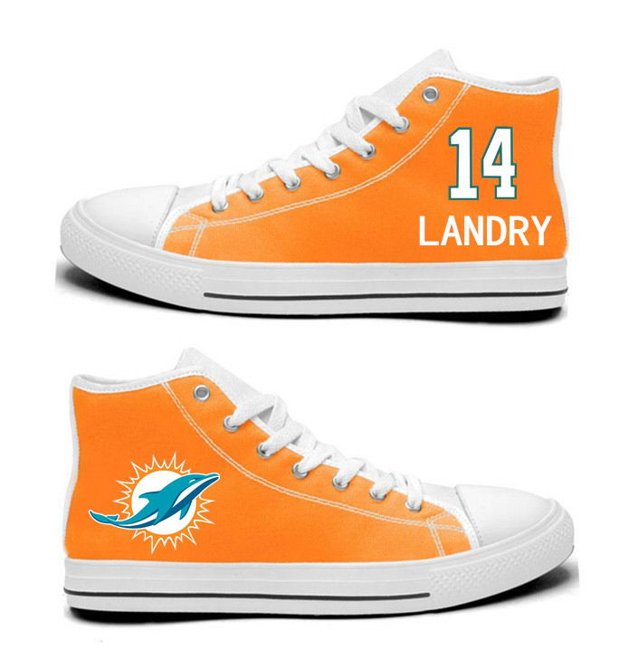 NFL Miami Dolphins 14# Jarvis Landry  orange Hand Painted Unisex Custom Centre-TOP Canvas Shoes