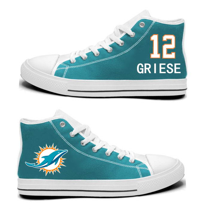 NFL Miami Dolphins 12#  Bob Griese Mitchell Aqua Hand Painted Unisex Custom Centre-TOP Canvas Shoes