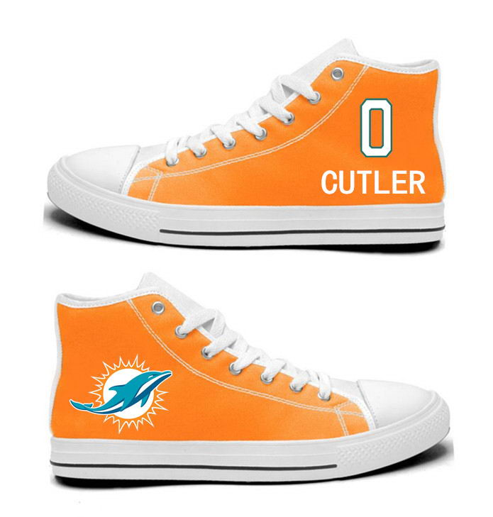 NFL Miami Dolphins 0#   Jay Cutler   Orange Hand Painted Unisex Custom Centre-TOP Canvas Shoes