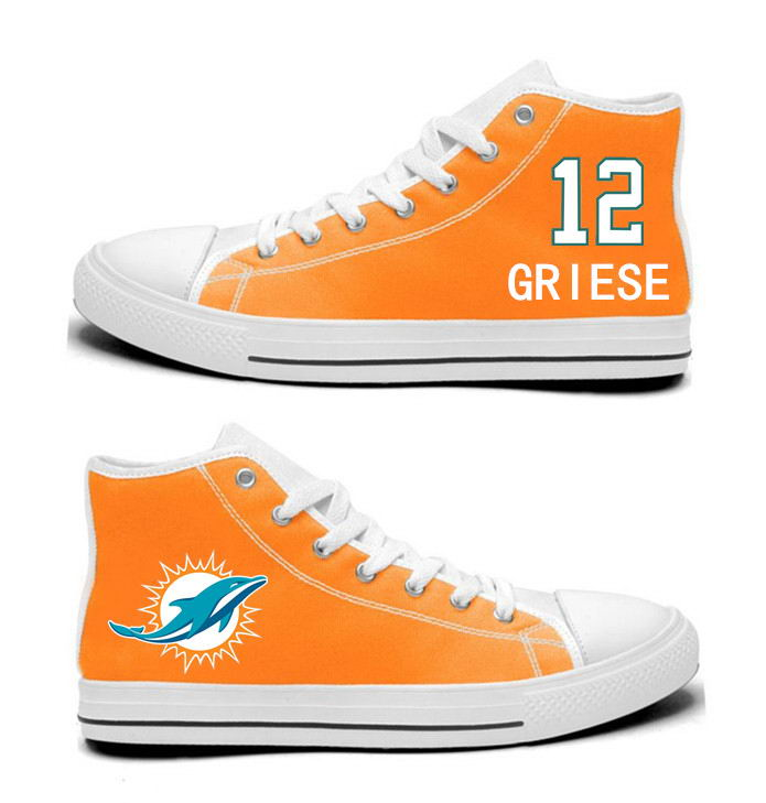 NFL Miami Dolphins 12#  Bob Griese Mitchell Orange Hand Painted Unisex Custom Centre-TOP Canvas Shoes