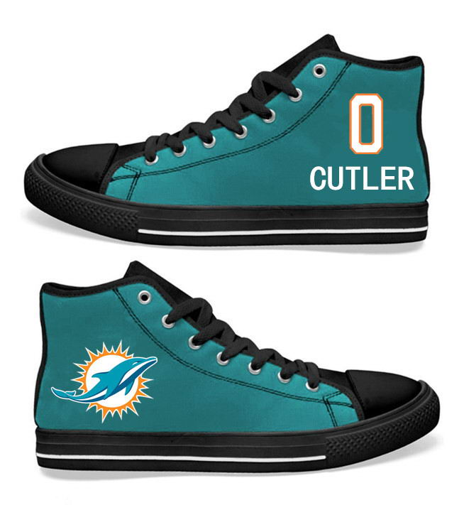 NFL Miami Dolphins 0#   Jay Cutler  black Aqua Hand Painted Unisex Custom Centre-TOP Canvas Shoes
