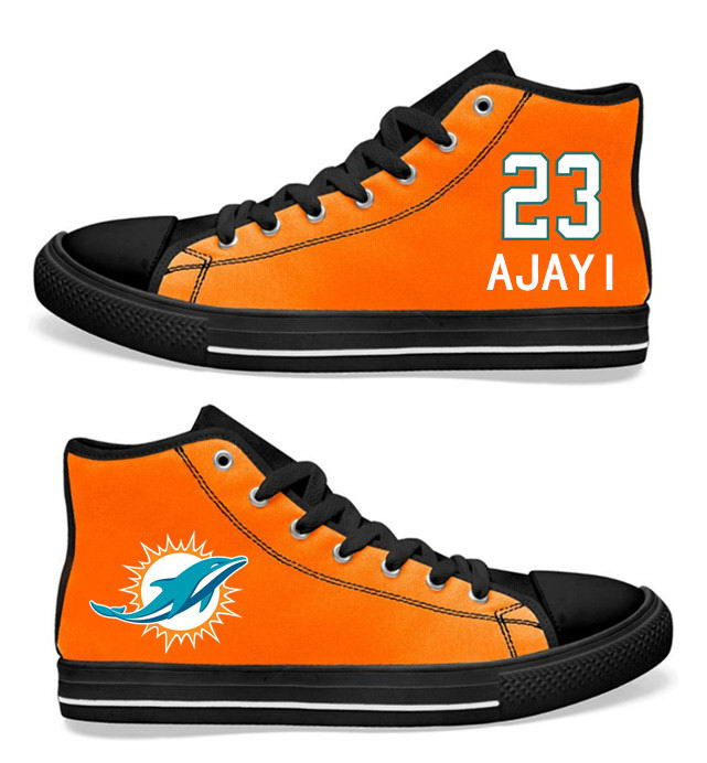 NFL Miami Dolphins 23# Jay Ajayi black orange Hand Painted Unisex Custom Centre-TOP Canvas Shoes
