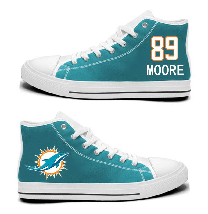 NFL Miami Dolphins 89# Nat Moore Mitchell Aqua Hand Painted Unisex Custom Centre-TOP Canvas Shoes