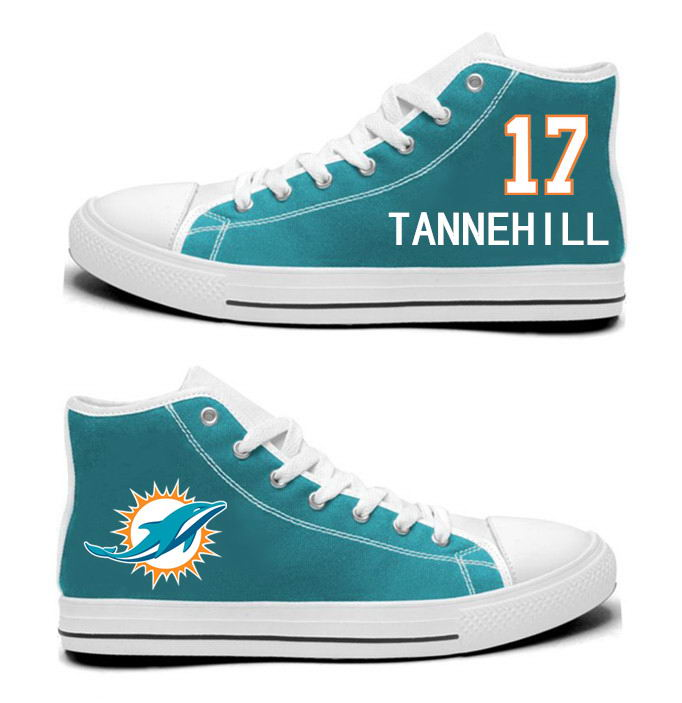 NFL Miami Dolphins 17#  Ryan Tannehill  Aqua Hand Painted Unisex Custom Centre-TOP Canvas Shoes
