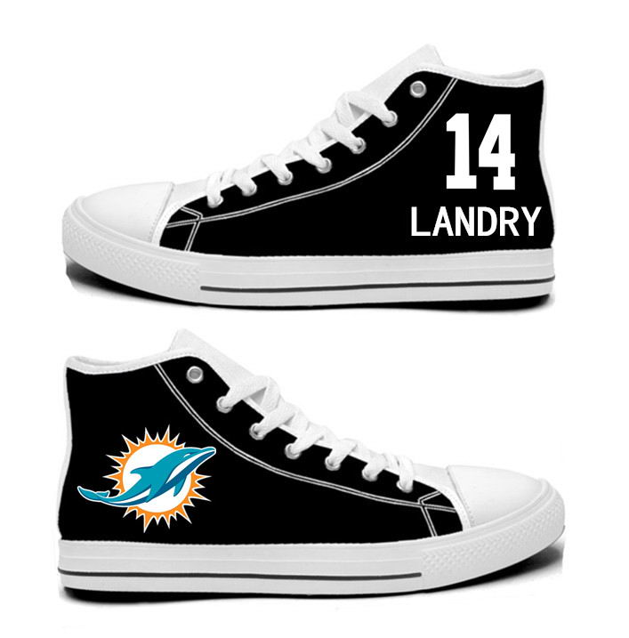 NFL Miami Dolphins 14# Jarvis Landry  black Hand Painted Unisex Custom Centre-TOP Canvas Shoes