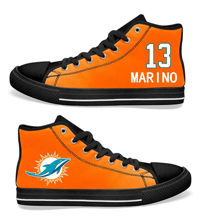 NFL Miami Dolphins 13# Dan Marino black orange Hand Painted Unisex Custom Centre-TOP Canvas Shoes
