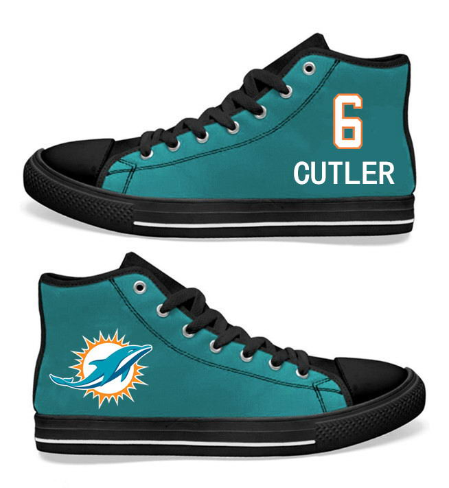 NFL Miami Dolphins 6# Jay Cutler Black Aqua Hand Painted Unisex Custom Centre-TOP Canvas Shoes