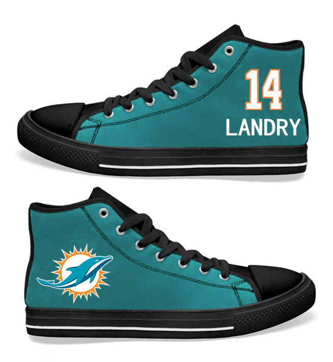 NFL Miami Dolphins 14# Jarvis Landry black Aqua Hand Painted Unisex Custom Centre-TOP Canvas Shoes