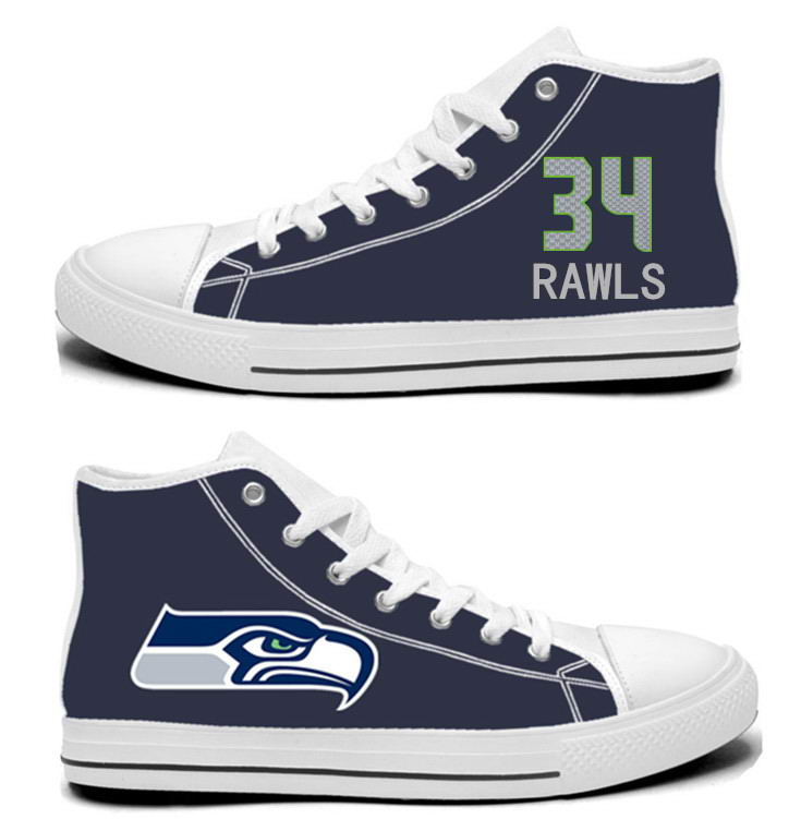 NFL Seattle Seahawks 34# Thomas Rawls College Navy Hand Painted Unisex Custom Centre-TOP Canvas Shoes