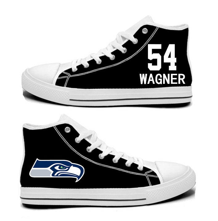 NFL Seattle Seahawks 54# Bobby Wagner  black Hand Painted Unisex Custom Centre-TOP Canvas Shoes