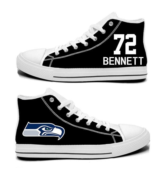 NFL Seattle Seahawks 72# Michael Bennett  black Hand Painted Unisex Custom Centre-TOP Canvas Shoes