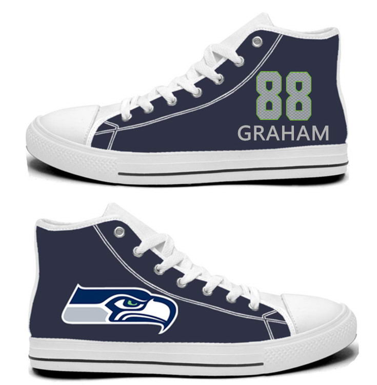 NFL Seattle Seahawks 88#  Jimmy Graham College Navy Hand Painted Unisex Custom Centre-TOP Canvas Shoes
