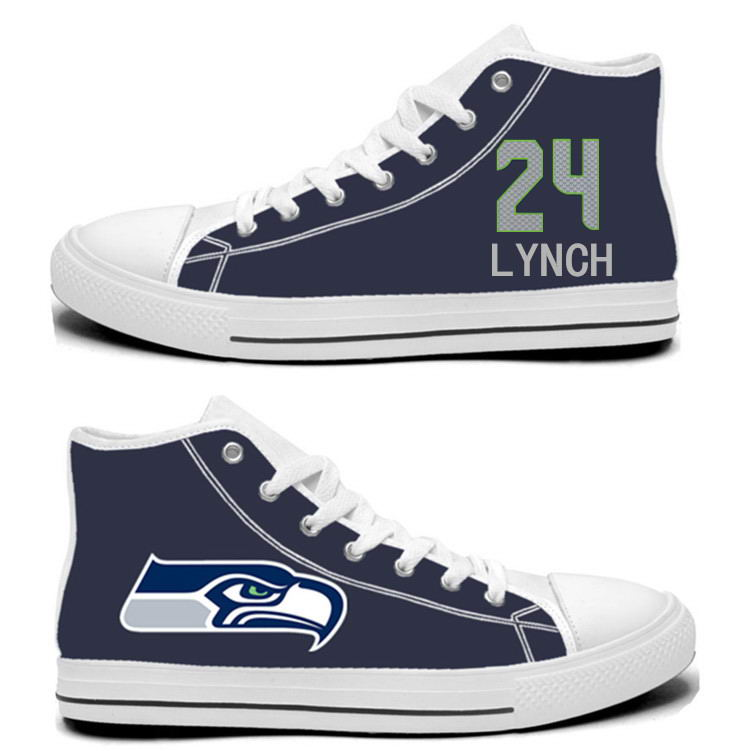 NFL Seattle Seahawks 24# Marshawn Lynch College Navy Hand Painted Unisex Custom Centre-TOP Canvas Shoes