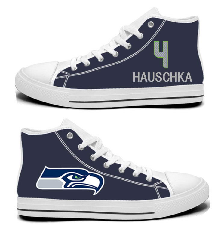 NFL Seattle Seahawks 4# Steven Hauschka College Navy Hand Painted Unisex Custom Centre-TOP Canvas Shoes
