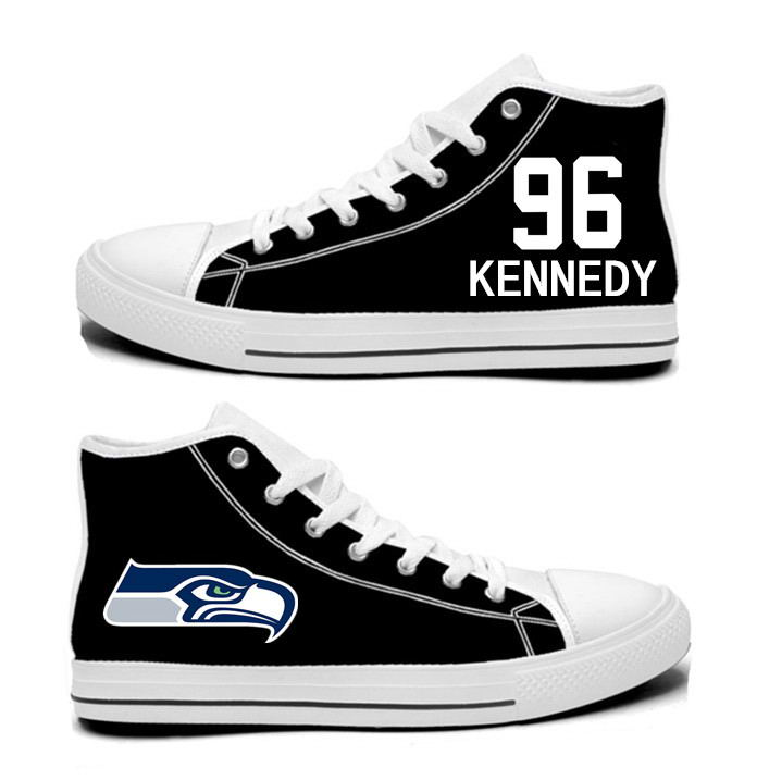 NFL Seattle Seahawks 96# Cortez Kennedy College black Hand Painted Unisex Custom Centre-TOP Canvas Shoes
