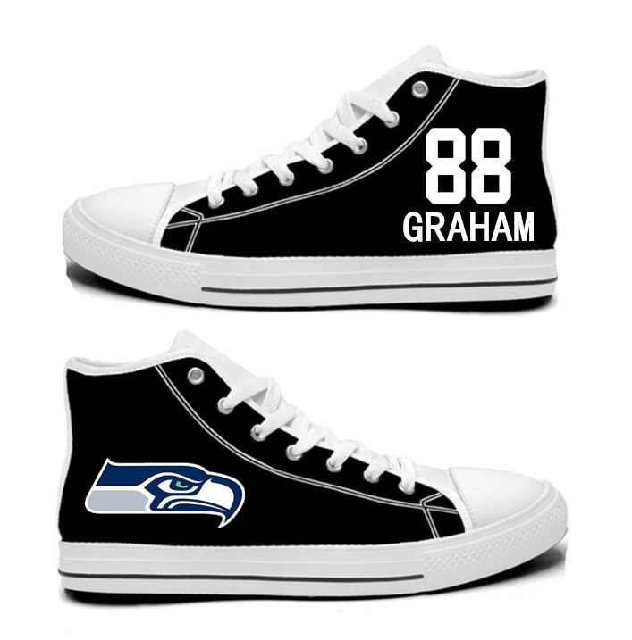 NFL Seattle Seahawks 88#  Jimmy Graham College black Hand Painted Unisex Custom Centre-TOP Canvas Shoes