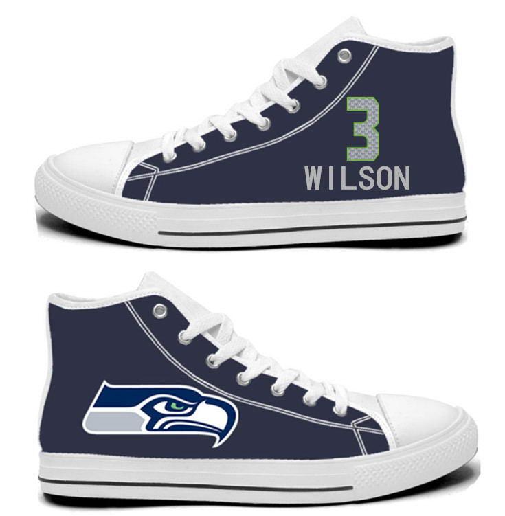 NFL Seattle Seahawks 3# Russell Wilson  College Navy Hand Painted Unisex Custom Centre-TOP Canvas Shoes