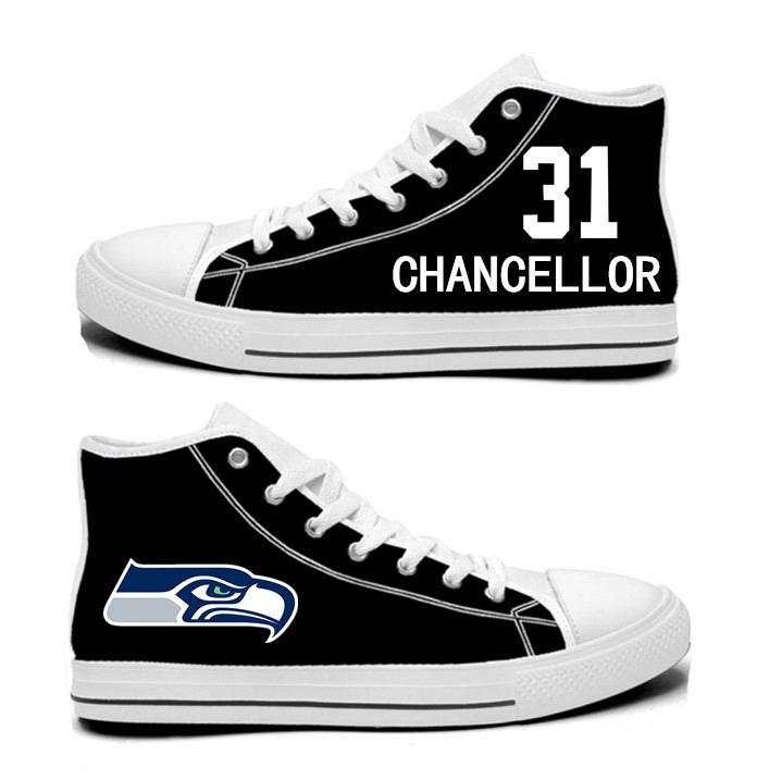 NFL Seattle Seahawks 31#  Kam Chancellor  College black Hand Painted Unisex Custom Centre-TOP Canvas Shoes