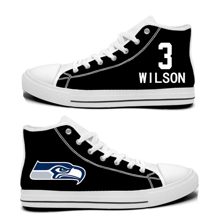 NFL Seattle Seahawks 3# Russell Wilson  College black Hand Painted Unisex Custom Centre-TOP Canvas Shoes