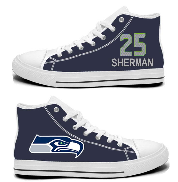 NFL Seattle Seahawks 25# Richard Sherman College Navy Hand Painted Unisex Custom Centre-TOP Canvas Shoes