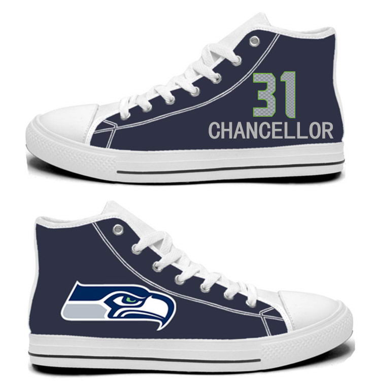 NFL Seattle Seahawks 31#  Kam Chancellor  College Navy Hand Painted Unisex Custom Centre-TOP Canvas Shoes