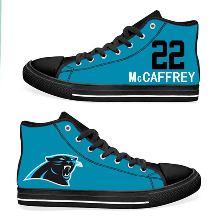 NFL Carolina Panthers 22# Christian McCaffrey blue Hand Painted Unisex Custom Centre-TOP Canvas Shoes