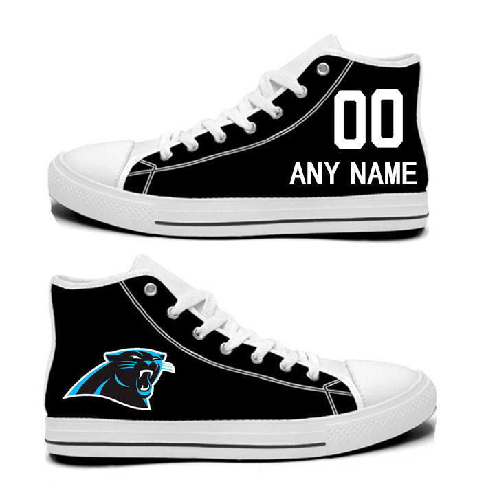 NFL Carolina Panthers black Hand Painted Unisex Custom Centre-TOP Canvas Shoes