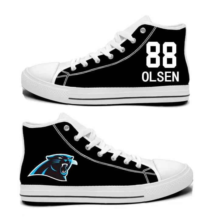 NFL Carolina Panthers 88#  Greg Olsen  black Hand Painted Unisex Custom Centre-TOP Canvas Shoes
