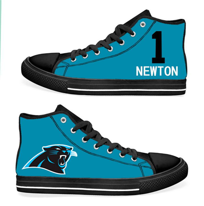 NFL Carolina Panthers 1# Cam Newton blue Hand Painted Unisex Custom Centre-TOP Canvas Shoes