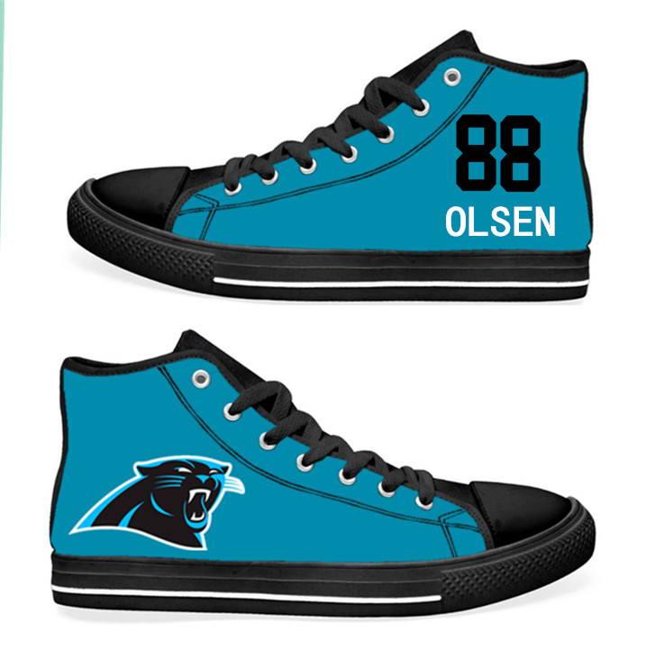 NFL Carolina Panthers 88#  Greg Olsen  blue Hand Painted Unisex Custom Centre-TOP Canvas Shoes
