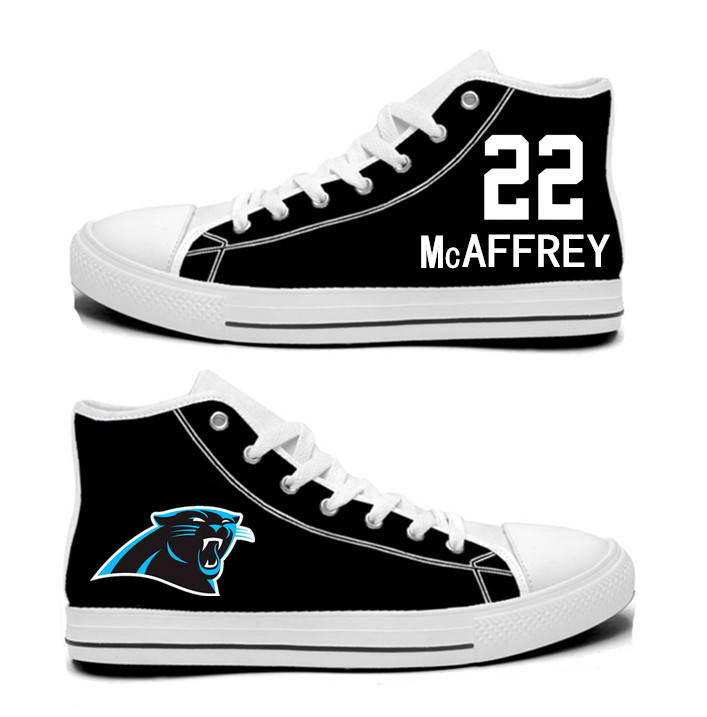 NFL Carolina Panthers 22# Christian McCaffrey black Hand Painted Unisex Custom Centre-TOP Canvas Shoes