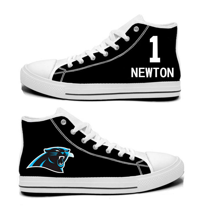 NFL Carolina Panthers 1# Cam Newton black Hand Painted Unisex Custom Centre-TOP Canvas Shoes