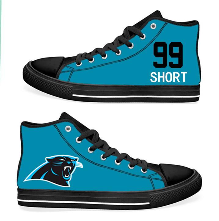 NFL Carolina Panthers 99#   Kawann Short  blue Hand Painted Unisex Custom Centre-TOP Canvas Shoes