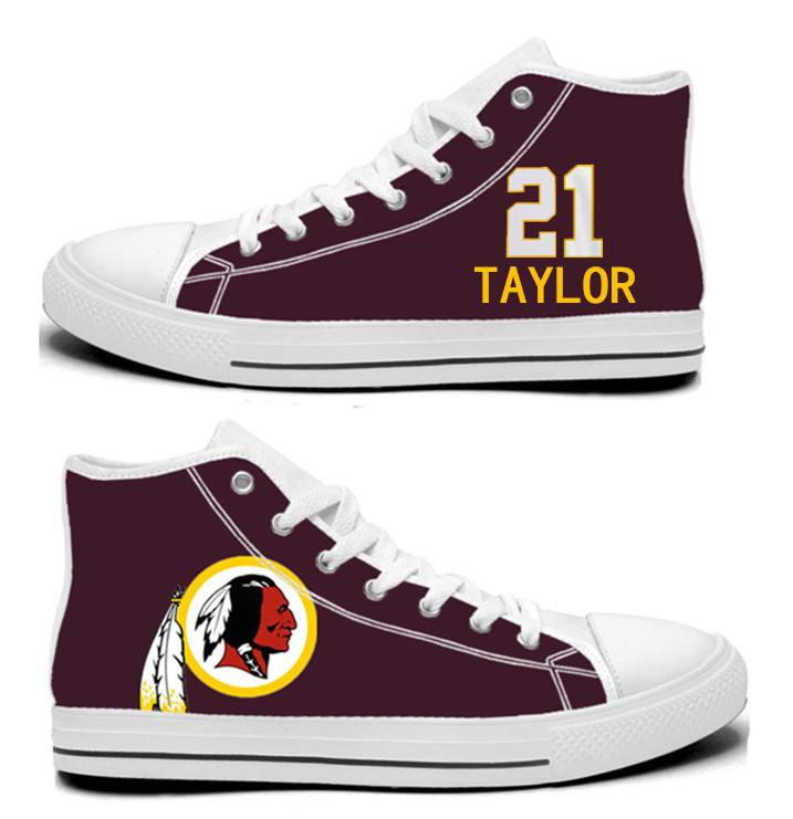 NFL Washington Redskins 21# Sean Taylor Burgundy Hand Painted Unisex Custom Centre-TOP Canvas Shoes