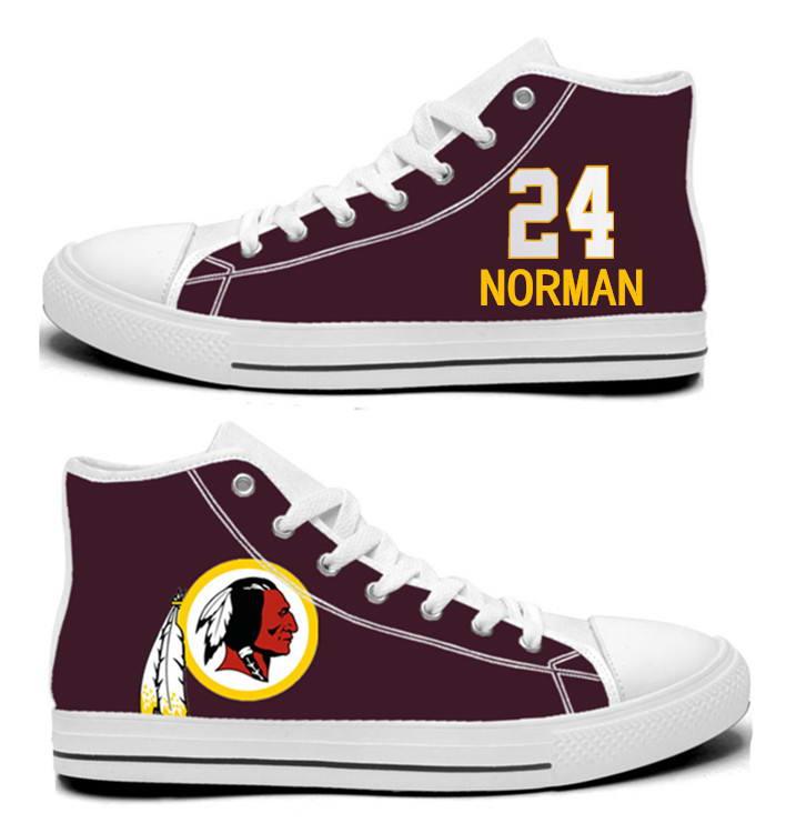 NFL Washington Redskins 24#  Josh Norman  Burgundy Hand Painted Unisex Custom Centre-TOP Canvas Shoes