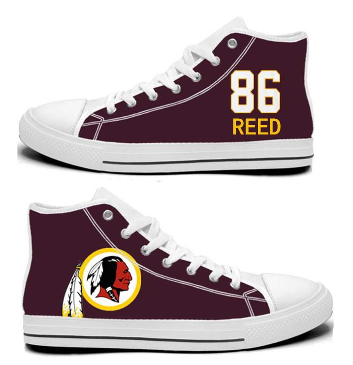 NFL Washington Redskins 86#  Jordan Reed  Burgundy Hand Painted Unisex Custom Centre-TOP Canvas Shoes