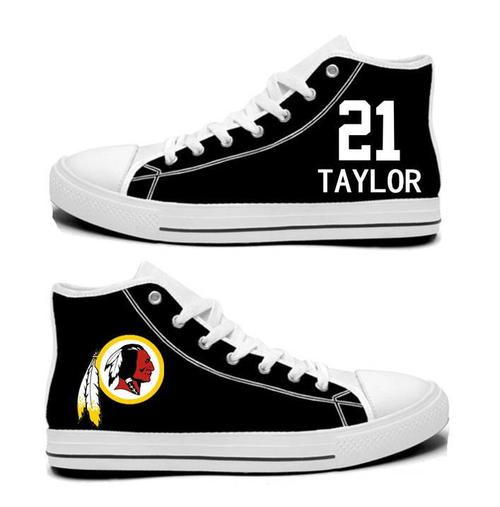 NFL Washington Redskins 21# Sean Taylor black Hand Painted Unisex Custom Centre-TOP Canvas Shoes