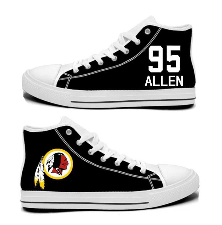NFL Washington Redskins 95# Jonathan Allen   black Hand Painted Unisex Custom Centre-TOP Canvas Shoes