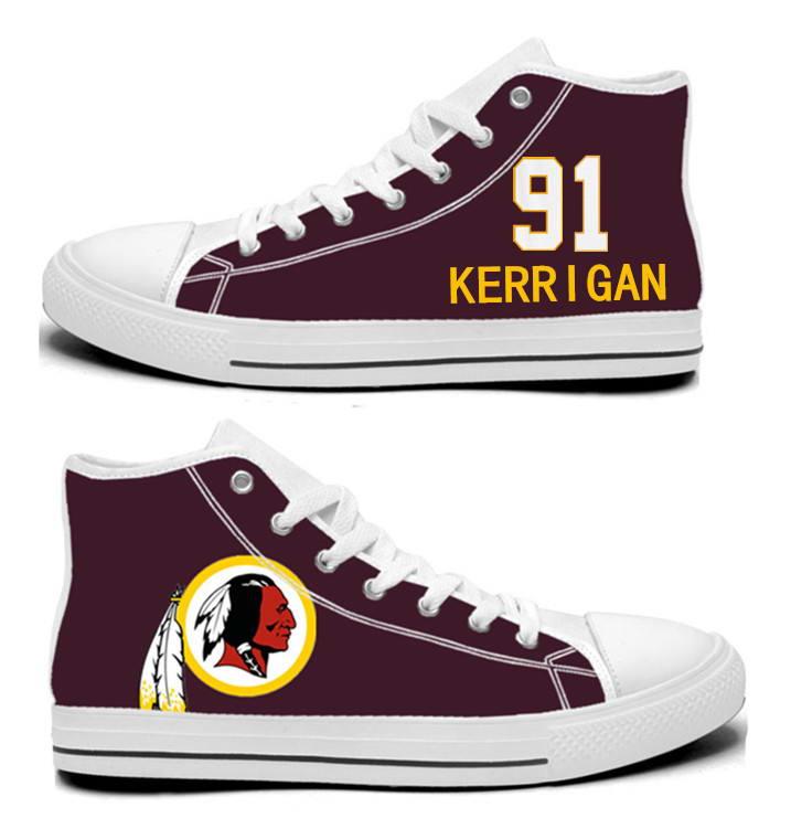 NFL Washington Redskins 91# Ryan Kerrigan  Burgundy Hand Painted Unisex Custom Centre-TOP Canvas Shoes