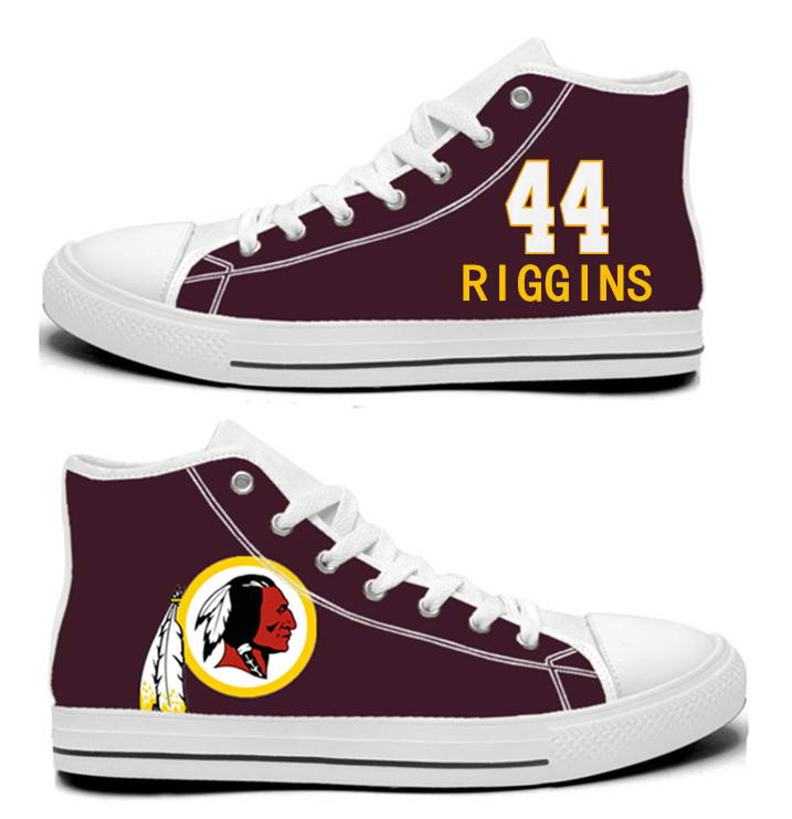 NFL Washington Redskins 44# John Riggins  Burgundy Hand Painted Unisex Custom Centre-TOP Canvas Shoes