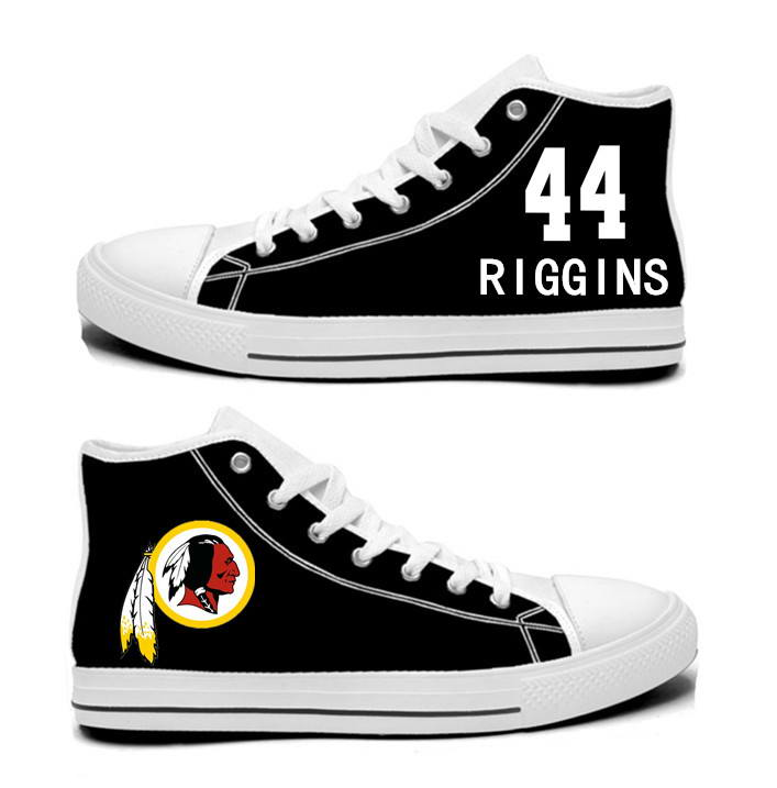 NFL Washington Redskins 44# John Riggins  black Hand Painted Unisex Custom Centre-TOP Canvas Shoes
