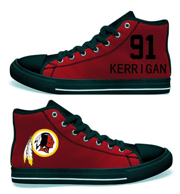 NFL Washington Redskins 91# Ryan Kerrigan  black red Hand Painted Unisex Custom Centre-TOP Canvas Shoes