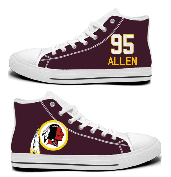 NFL Washington Redskins 95# Jonathan Allen   Burgundy Hand Painted Unisex Custom Centre-TOP Canvas Shoes